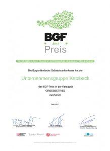 KATZBECK mit BGF-Preis ausgezeichnet